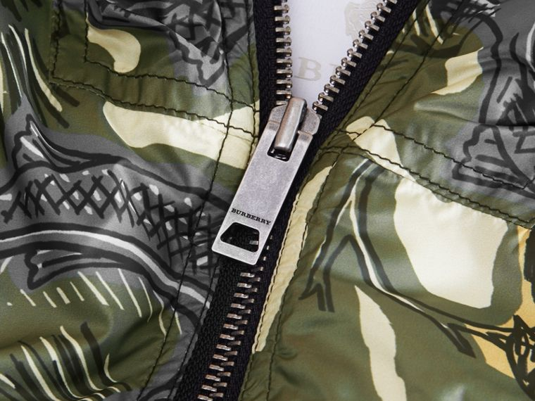 Beasts Print Hooded Bomber Jacket in Sage Green | Burberry - cell image 1