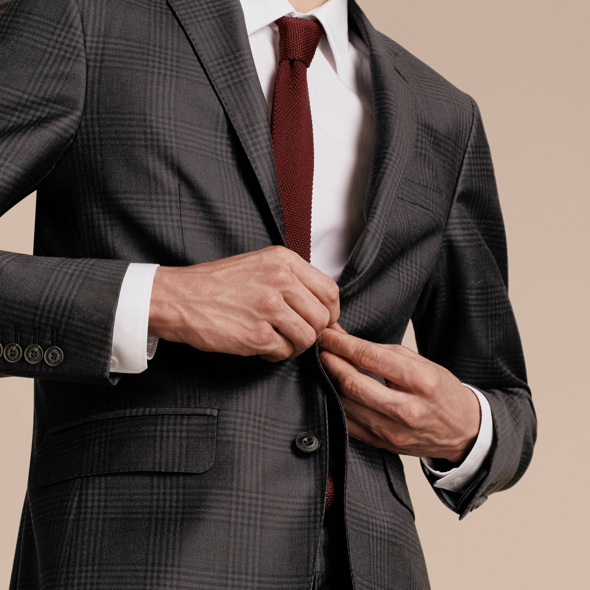 Slim Fit Travel Tailoring Prince of Wales Check Wool Suit - gallery image 7