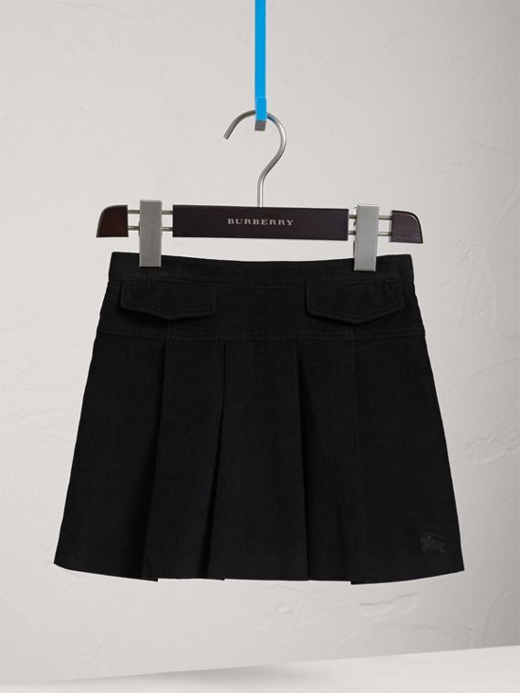 Pleated Cotton Corduroy Skirt in Black - Girl | Burberry Australia - cell image 2