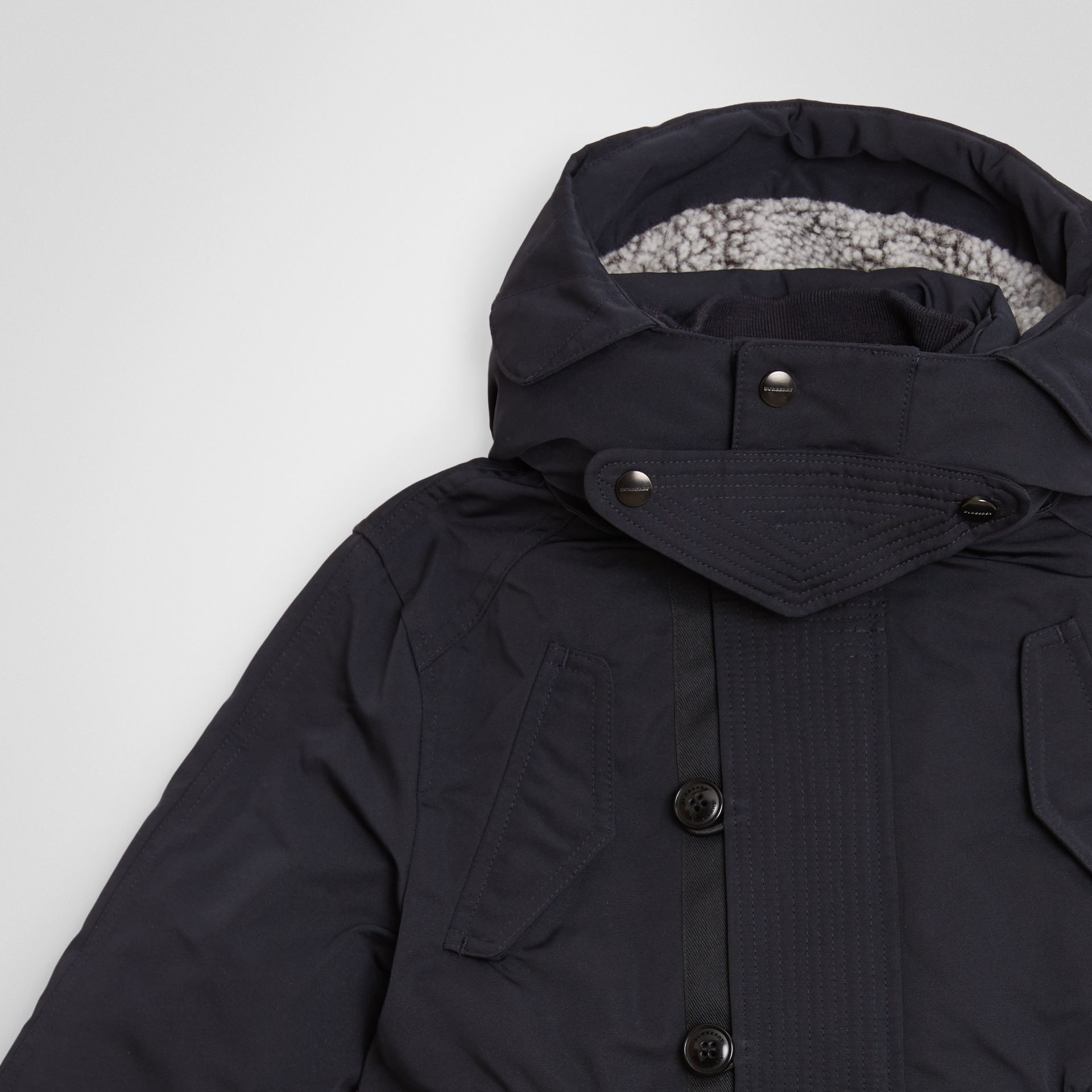 Detachable Hood Down-filled Parka Coat in Navy | Burberry United Kingdom - gallery image 4