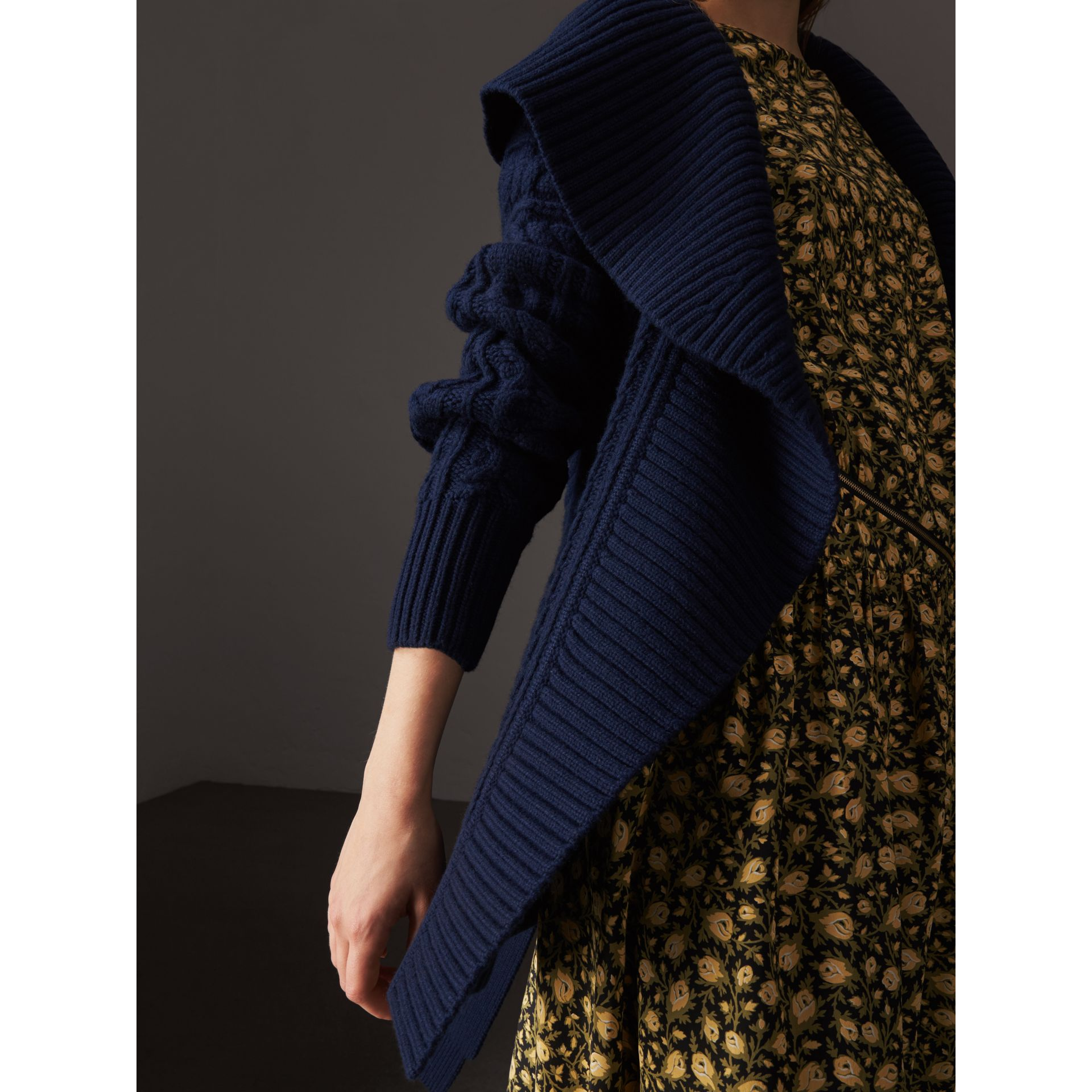 Cable Knit Wool Cashmere Wrap Cardigan in Navy - Women | Burberry - gallery image 2