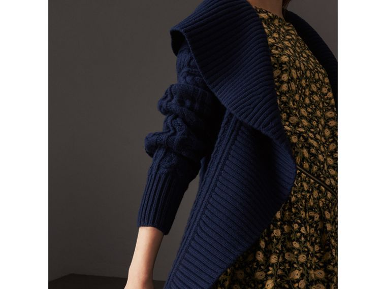 Cable Knit Wool Cashmere Wrap Cardigan in Navy - Women | Burberry - cell image 1