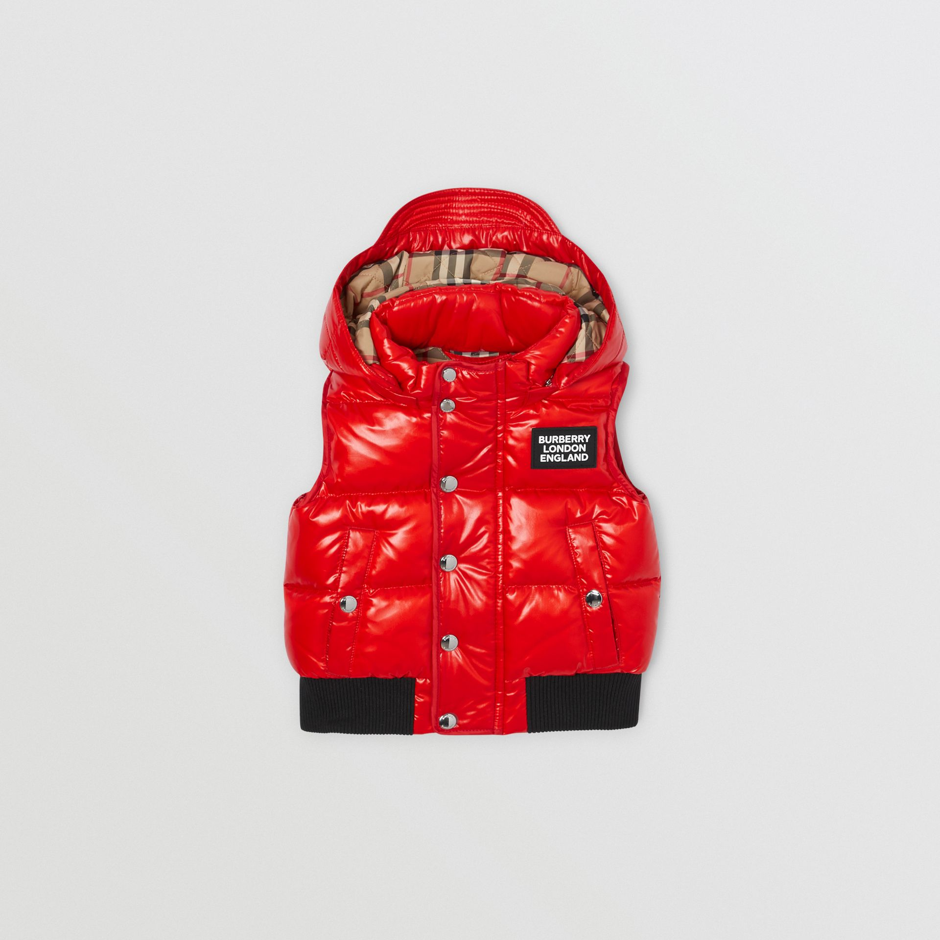 Detachable Hood Nylon Puffer Gilet in Pillar Box Red - Children | Burberry United Kingdom - gallery image 0