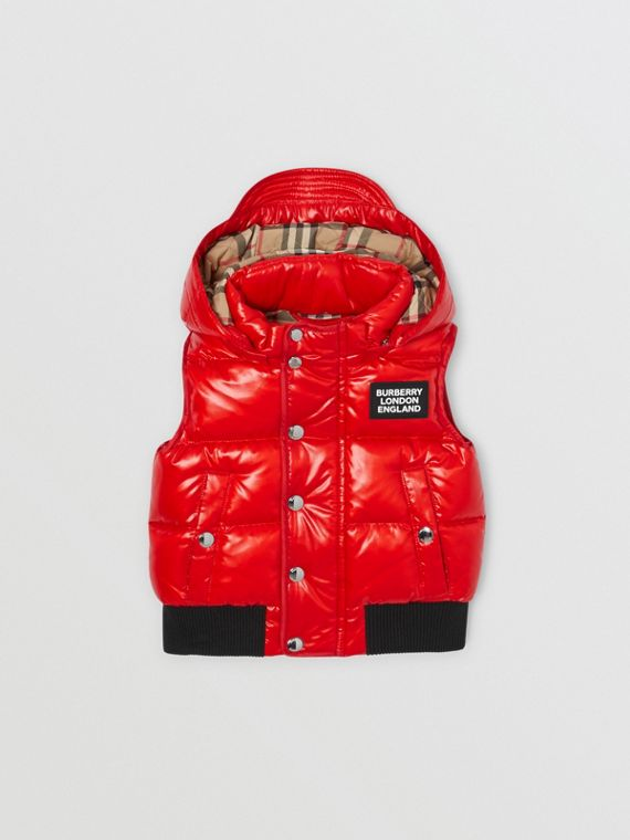 Detachable Hood Nylon Puffer Gilet in Pillar Box Red