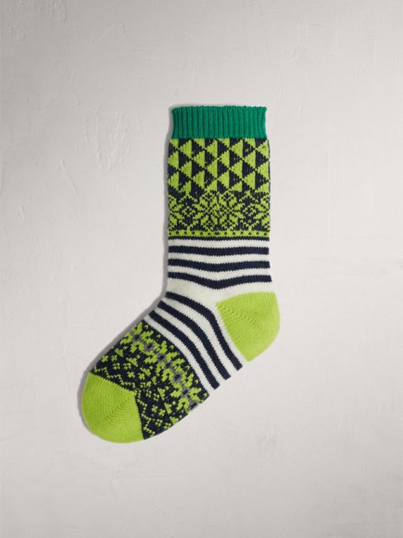 Fair Isle Cashmere Wool Patchwork Socks in Green