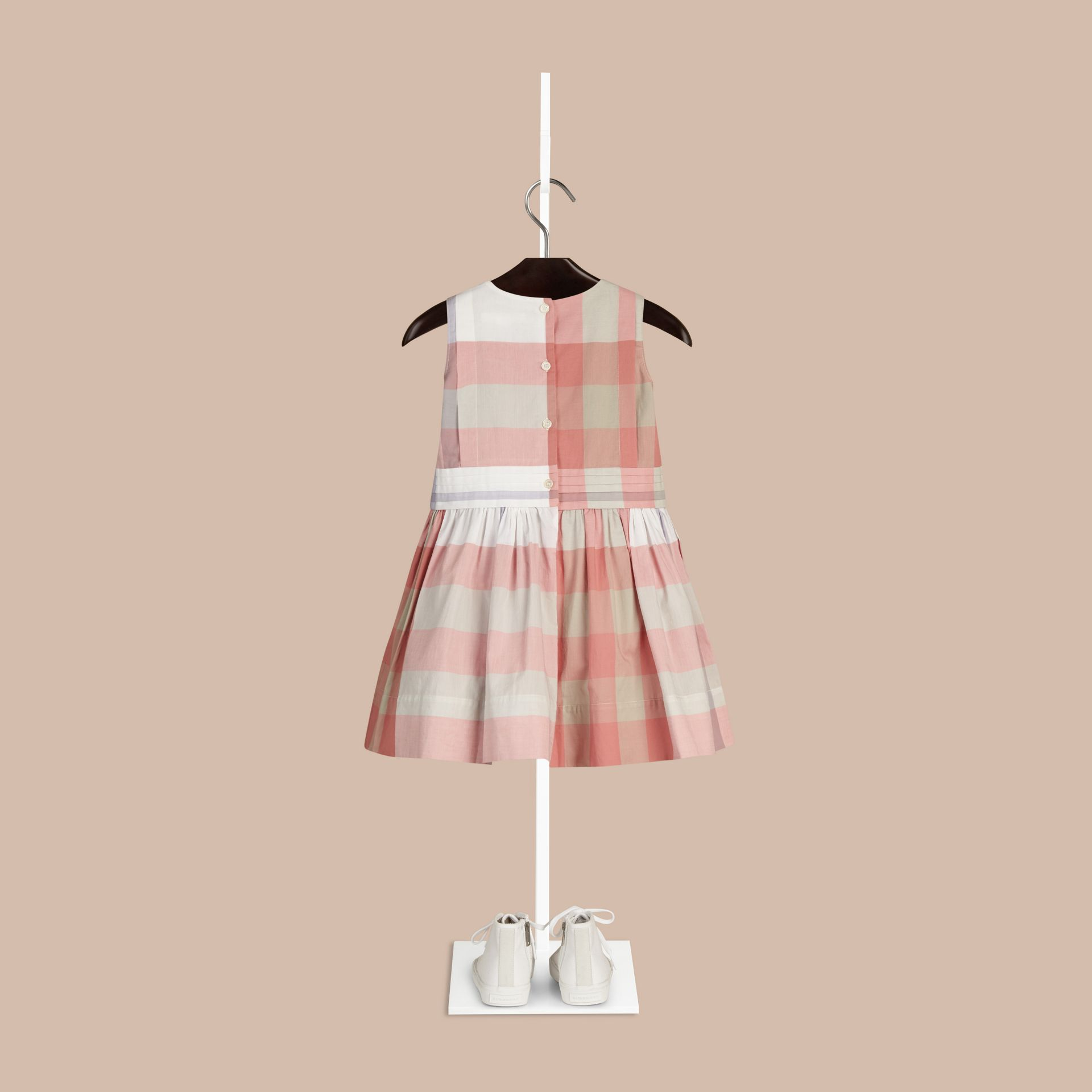 Light copper pink Sleeveless Check Cotton Dress Light Copper Pink - gallery image 2