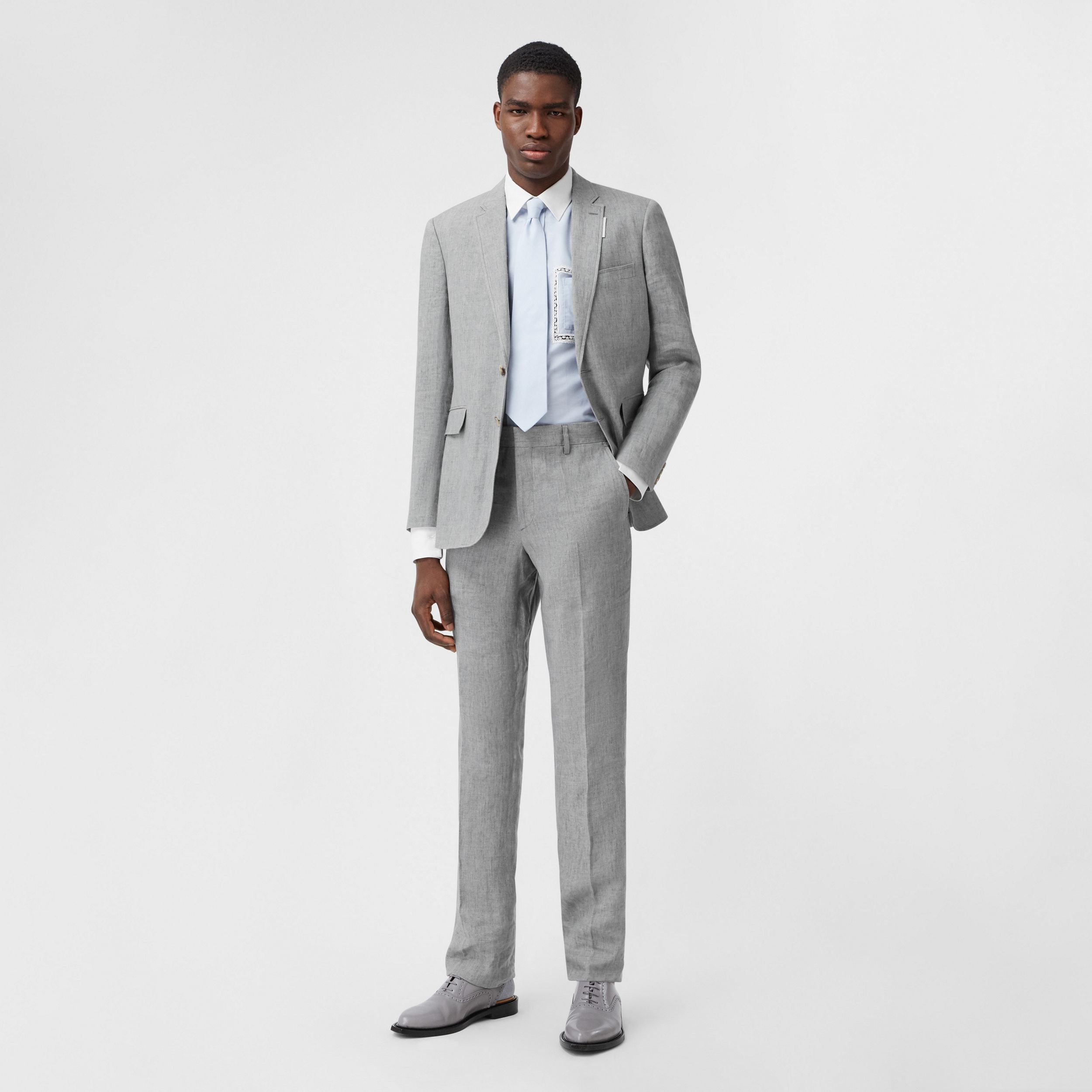 Classic Fit Linen Tailored Trousers in Heather Melange - Men | Burberry - 1