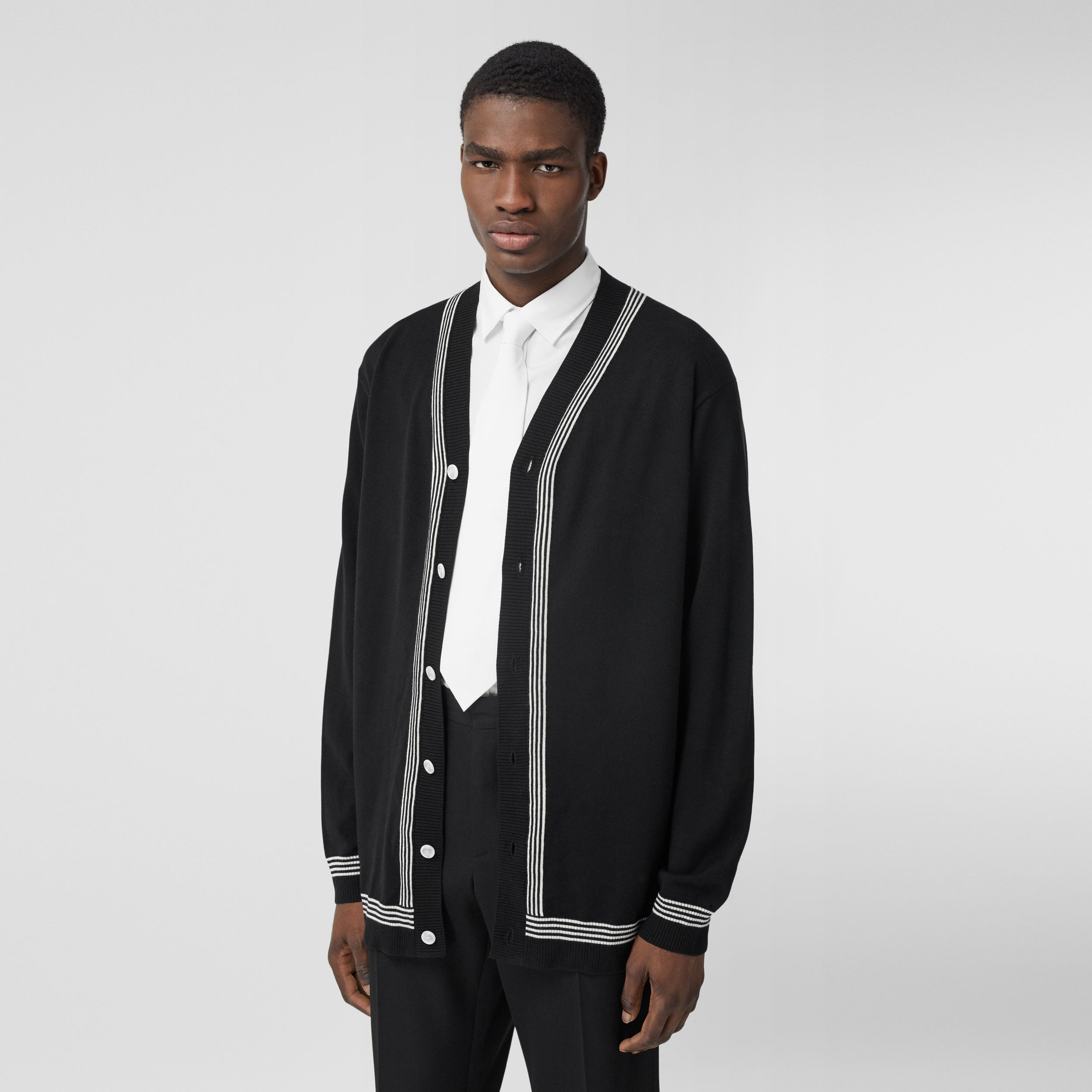 Stripe Detail Merino Wool Oversized Cardigan in Black - Men | Burberry Hong Kong S.A.R. - 1