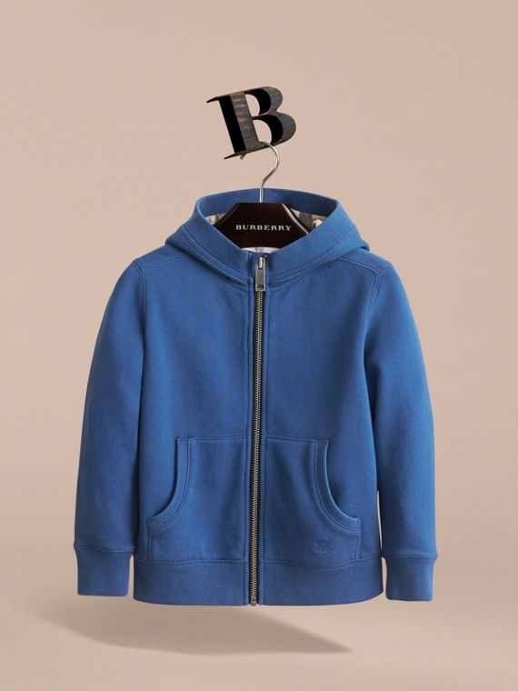 Hooded Cotton Top in Marine Blue - Boy | Burberry - cell image 2