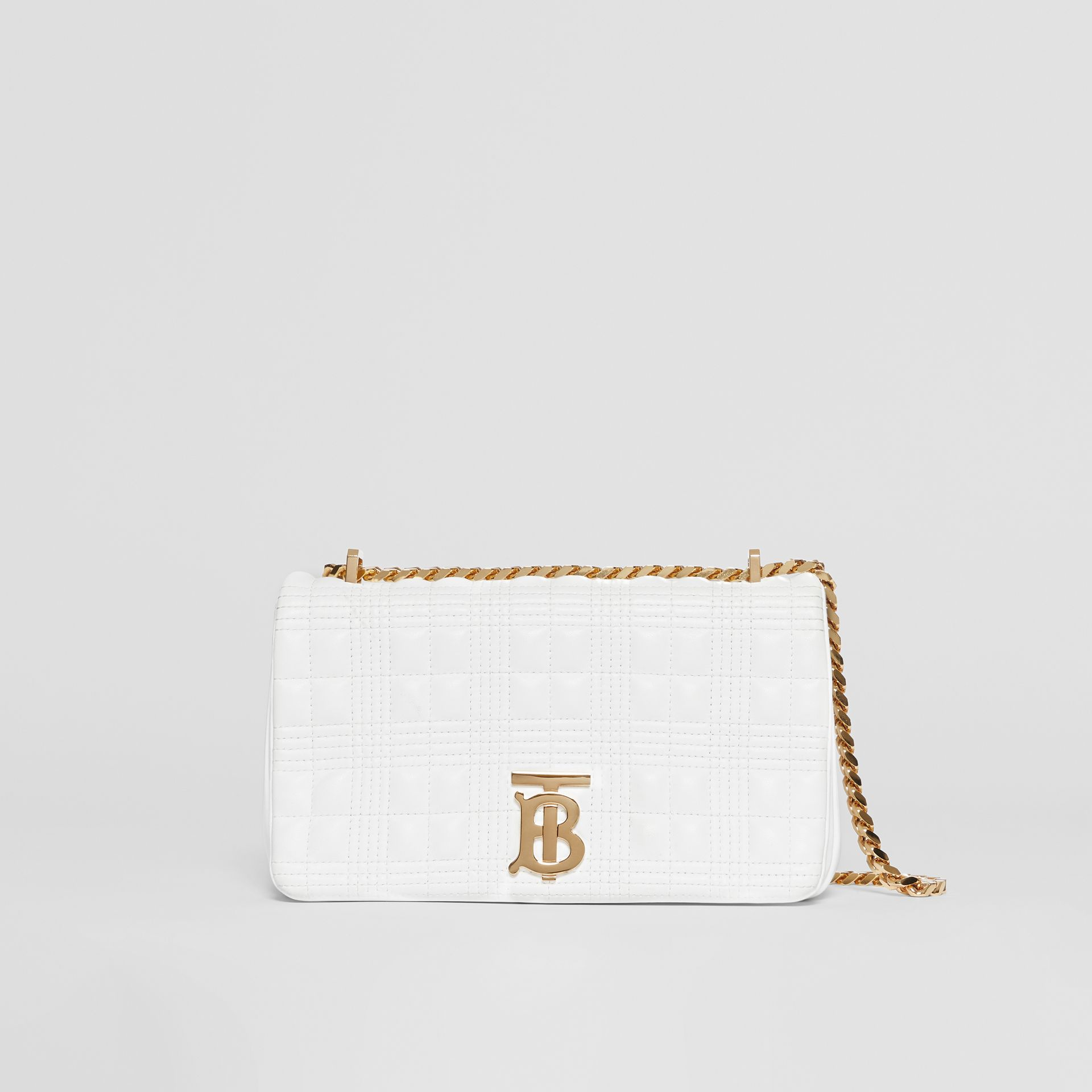 Small Quilted Check Lambskin Lola Bag in White | Burberry United Kingdom - gallery image 0
