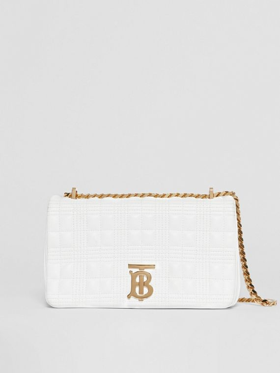 Small Quilted Check Lambskin Lola Bag in White