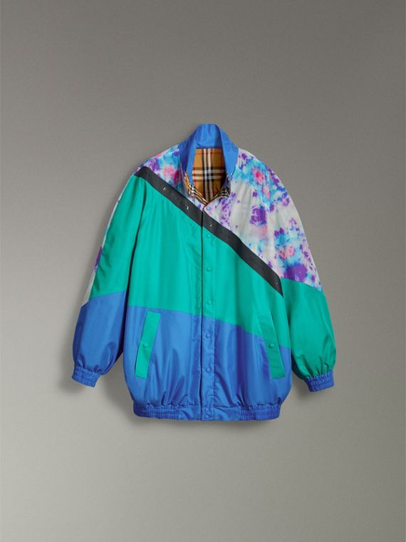 Reversible Tie-dye Silk Shell Suit Jacket in Turquoise