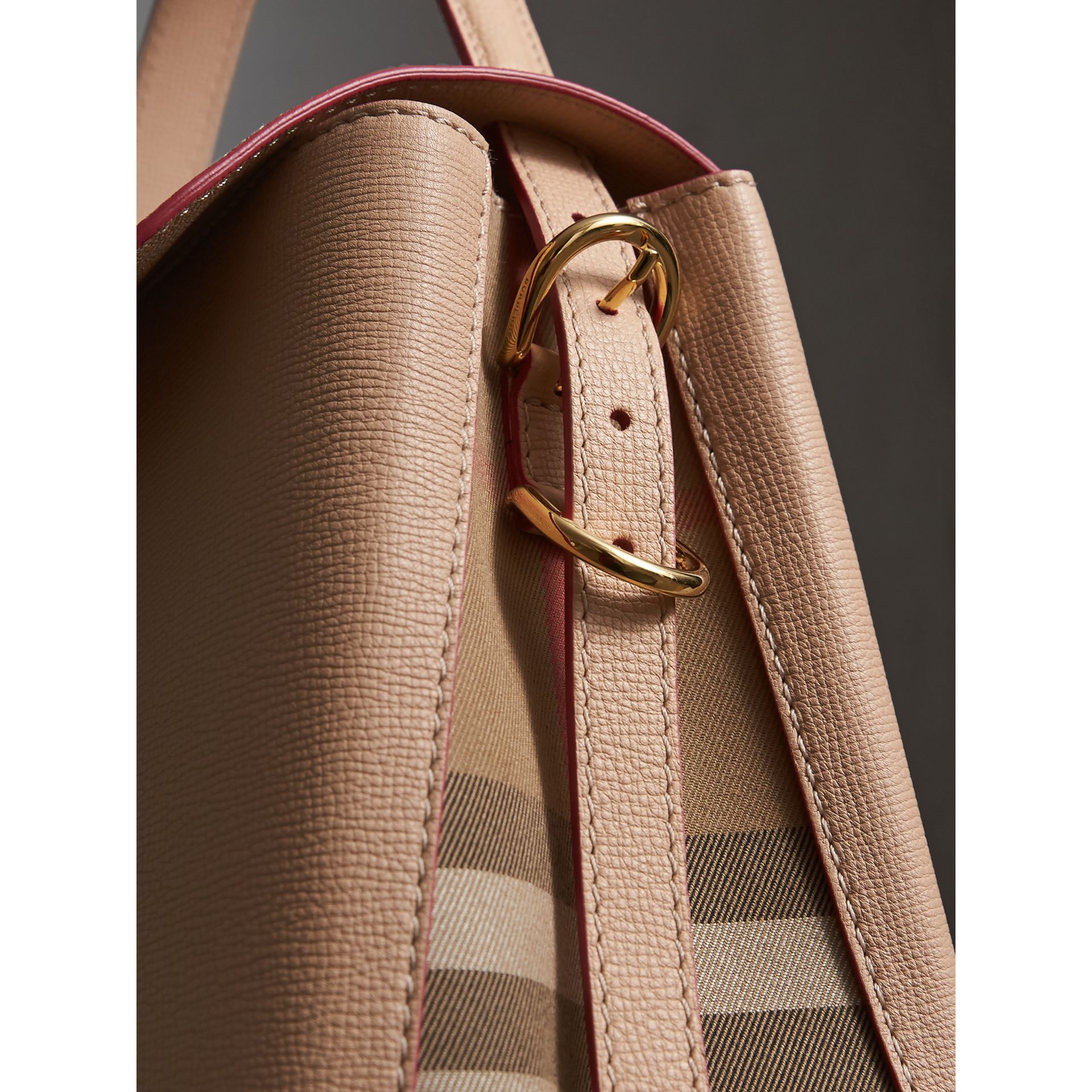 Medium Grainy Leather and House Check Tote Bag in Pale Apricot - Women | Burberry Australia - gallery image 1