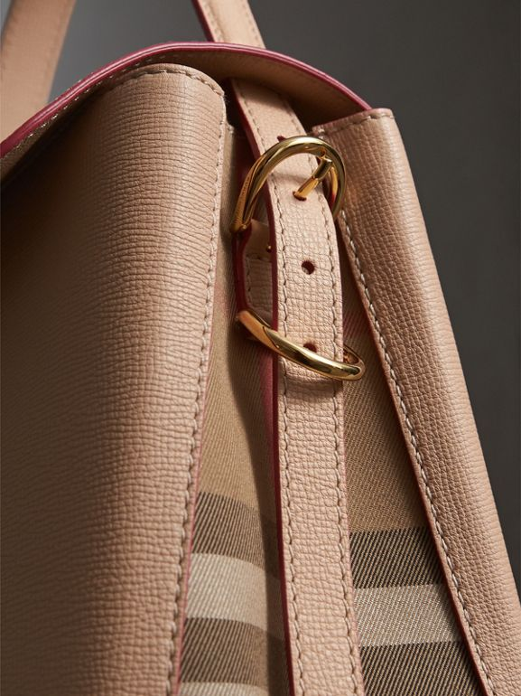 Medium Grainy Leather and House Check Tote Bag in Pale Apricot - Women | Burberry Australia - cell image 1