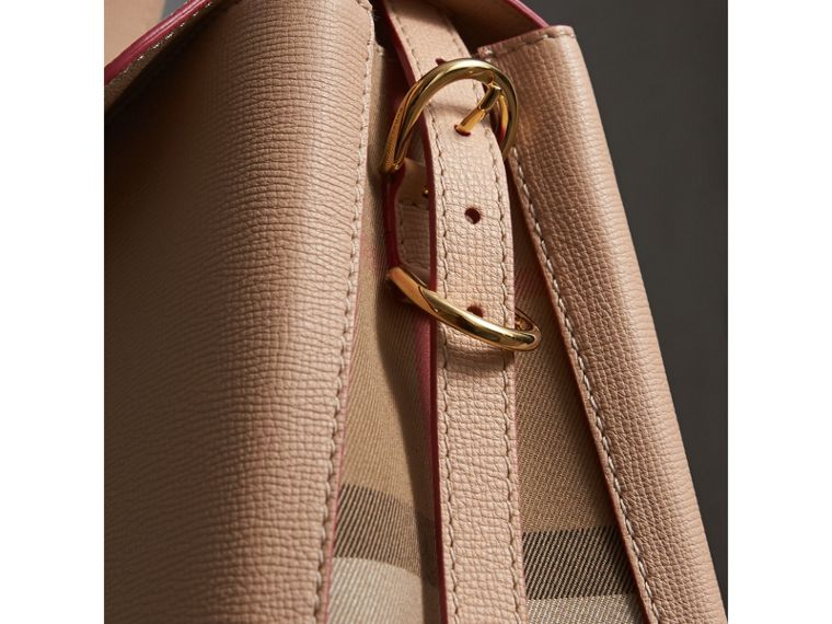 Medium Grainy Leather and House Check Tote Bag in Pale Apricot - Women | Burberry Singapore - cell image 1