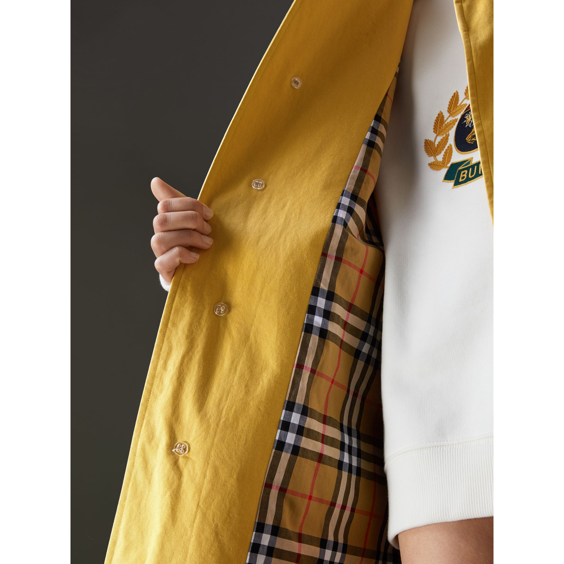 Reissued Waxed Cotton Gabardine Car Coat in Yellow - Women | Burberry United Kingdom - gallery image 1