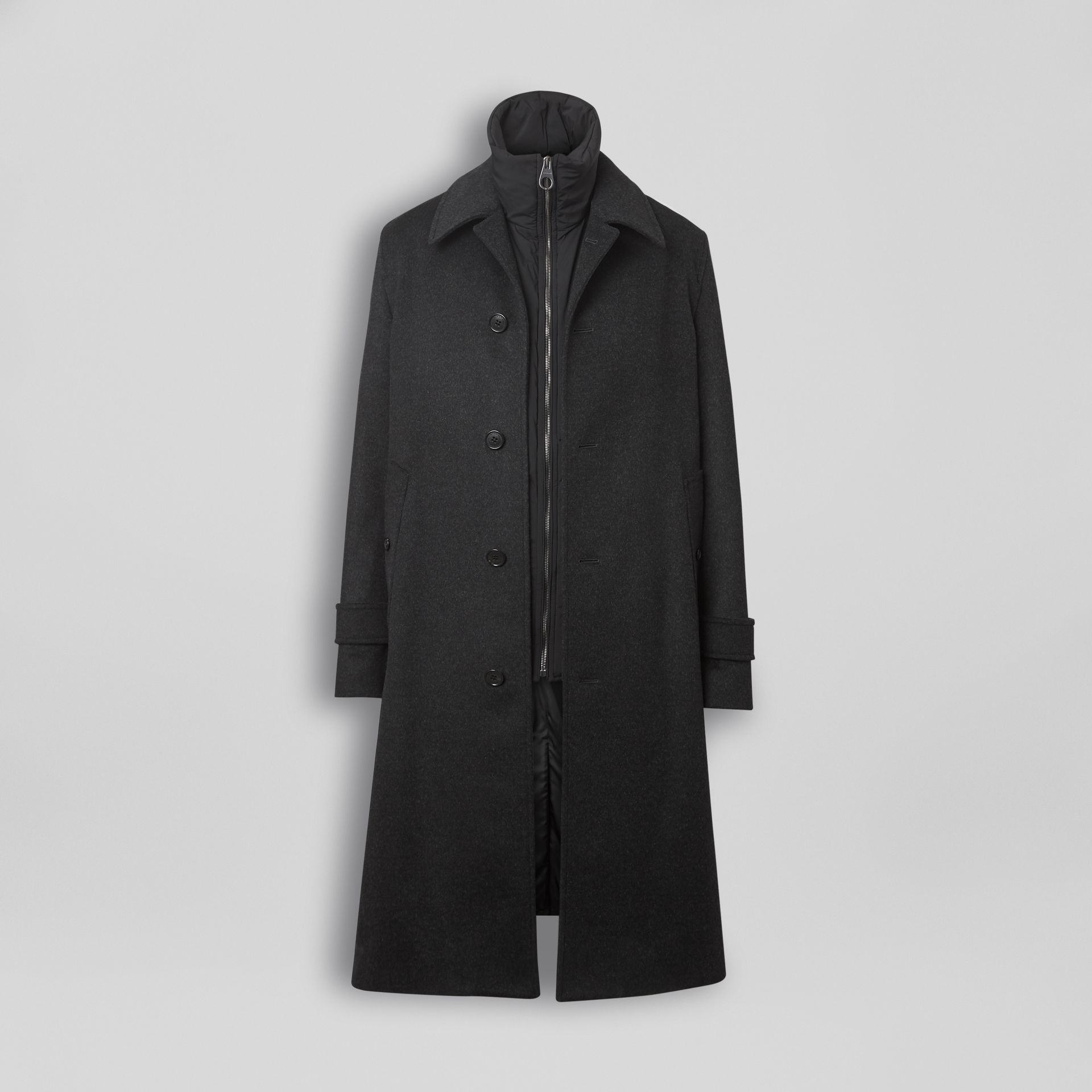 Wool Cashmere Car Coat with Detachable Gilet in Dark Grey Melange - Men | Burberry Australia - gallery image 3