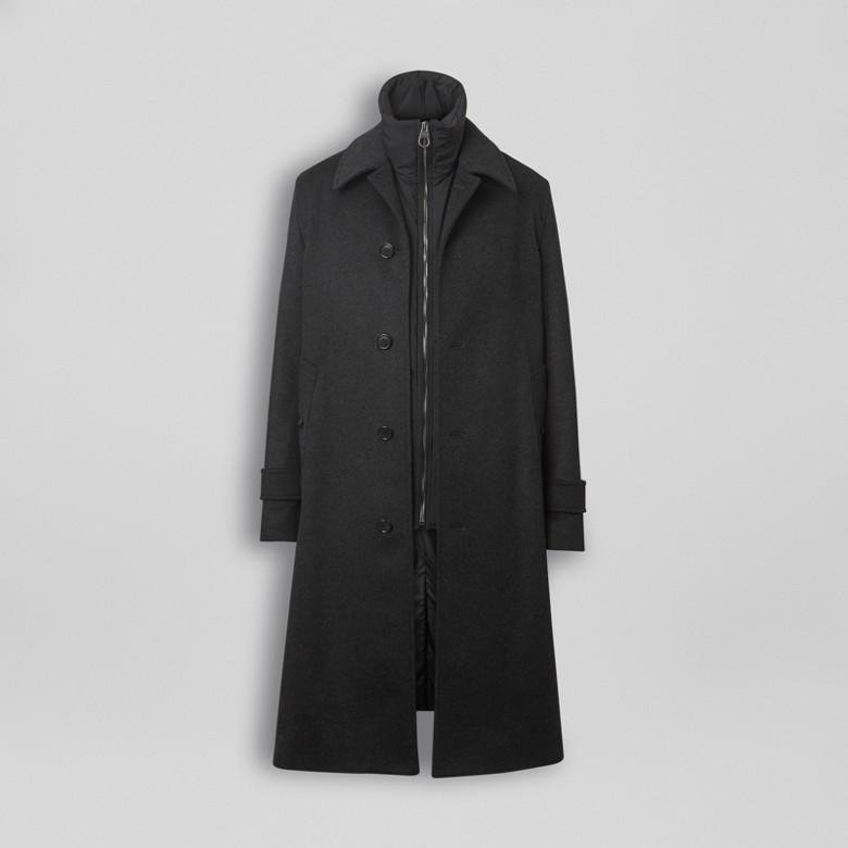 Burberry - Paletot en laine et cachemire avec veste sans manches amovible - 4