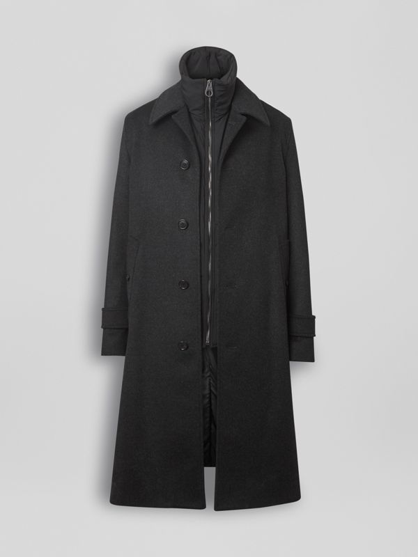 Wool Cashmere Car Coat with Detachable Gilet in Dark Grey Melange - Men | Burberry - cell image 3