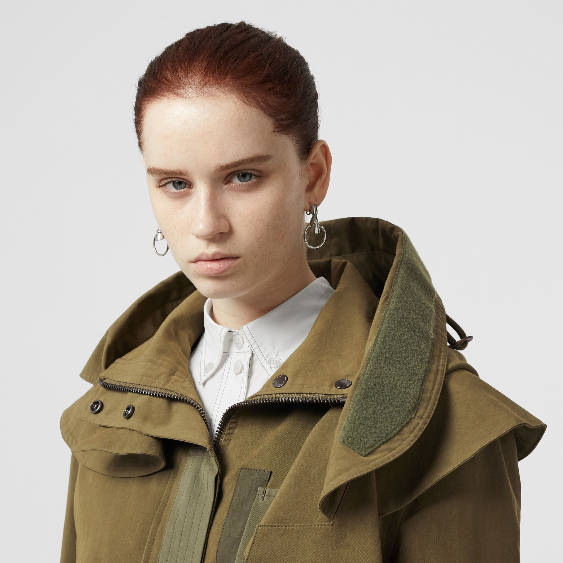Detachable Hood Cotton Silk Twill Jacket in Khaki Green - Women | Burberry - gallery image 1