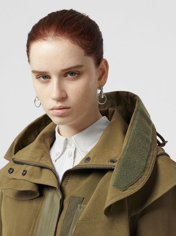 Detachable Hood Cotton Silk Twill Jacket in Khaki Green - Women | Burberry - cell image 1