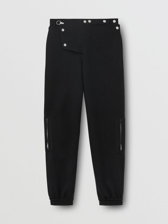 Press-stud Detail Neoprene Trousers in Black