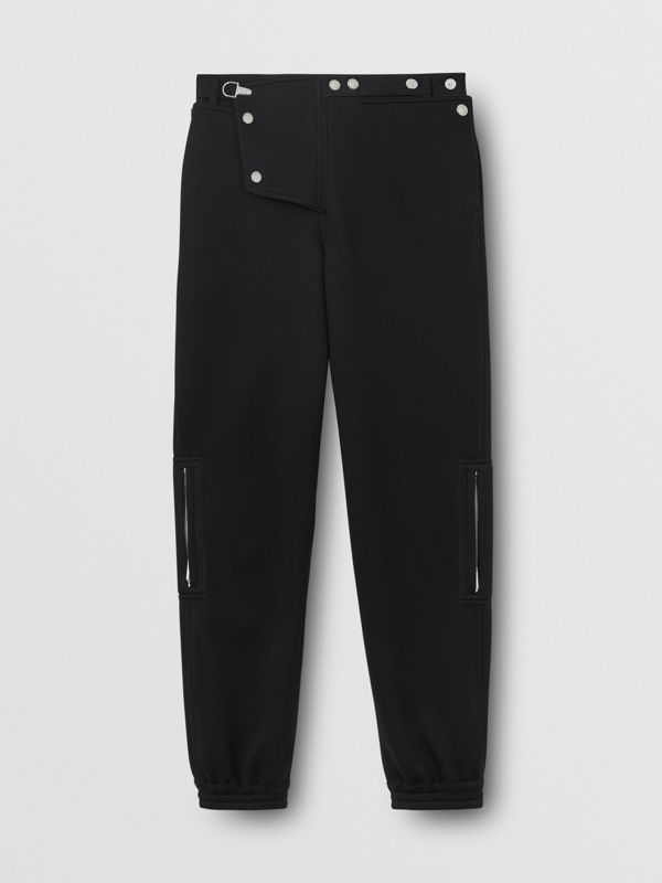Press-stud Detail Neoprene Trousers in Black - Men | Burberry - cell image 3