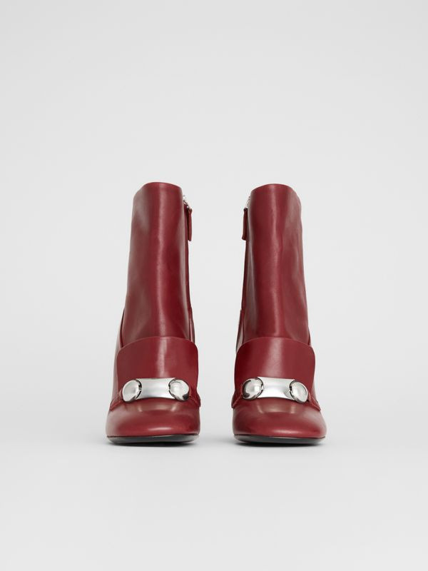 Studded Bar Detail Leather Ankle Boots in Bordeaux - Women | Burberry United States - cell image 3