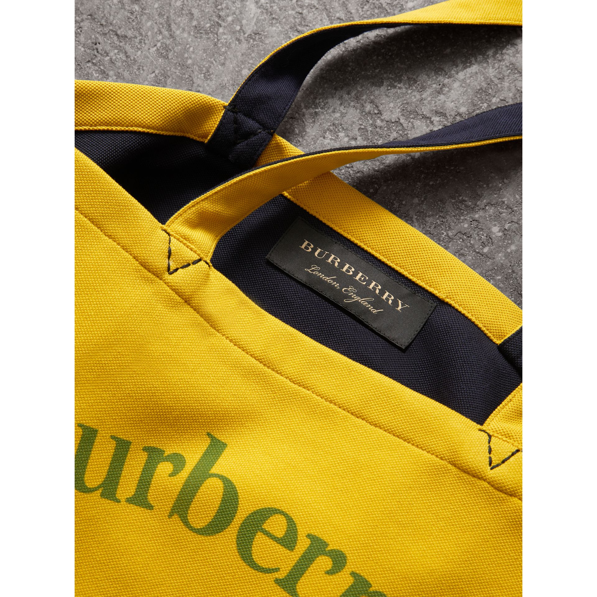 Large Archive Logo Jersey Shopper in Ochre Yellow | Burberry United States - gallery image 7