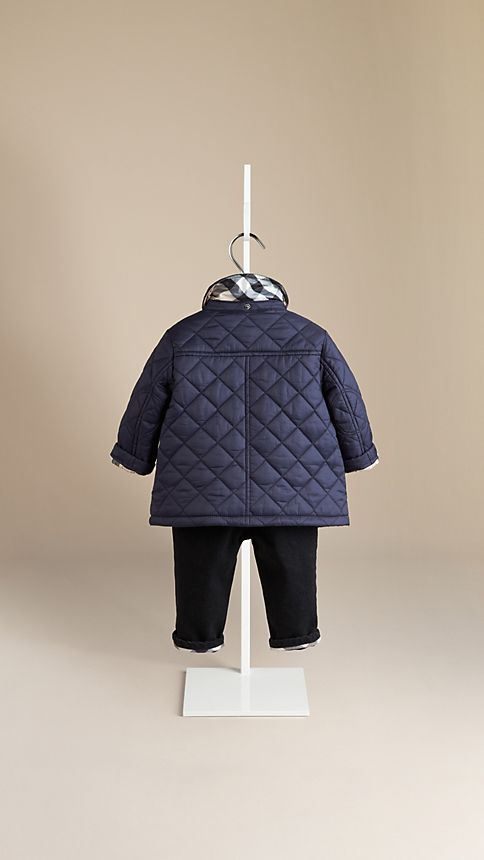 Military navy Check Detail Diamond Quilted Jacket - Image 2