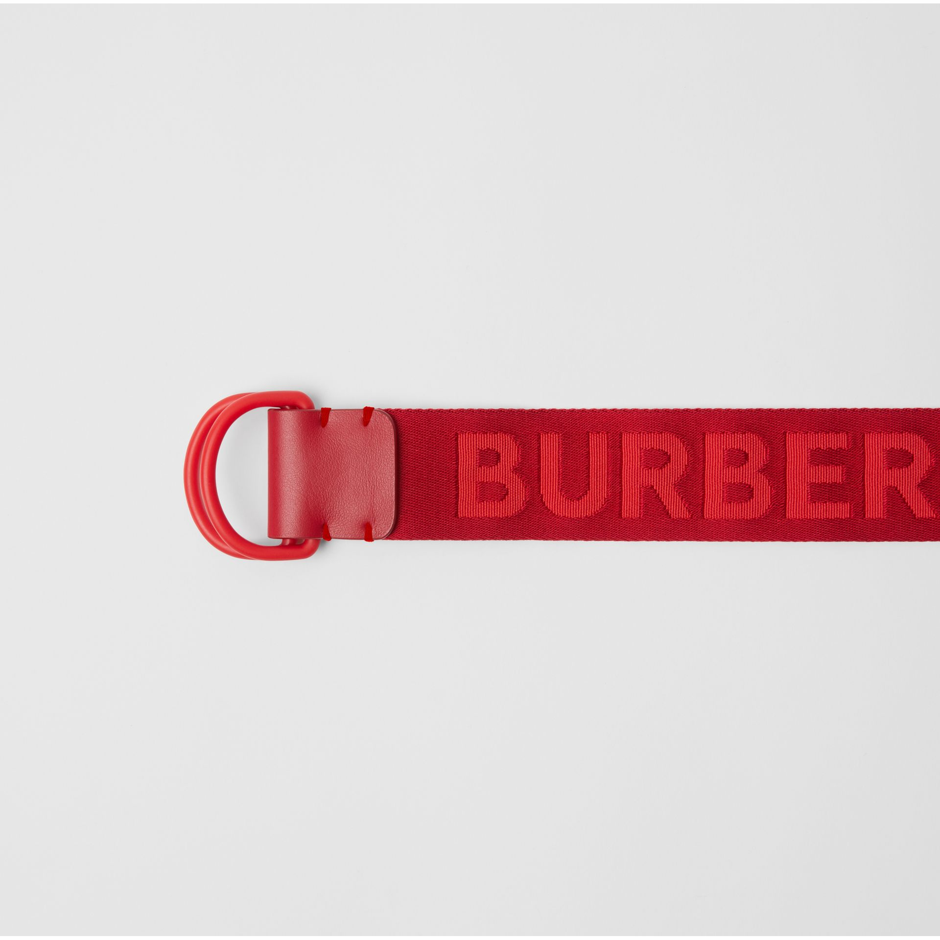Logo Detail Double D-ring Belt in Bright Red - Men | Burberry Canada - gallery image 1