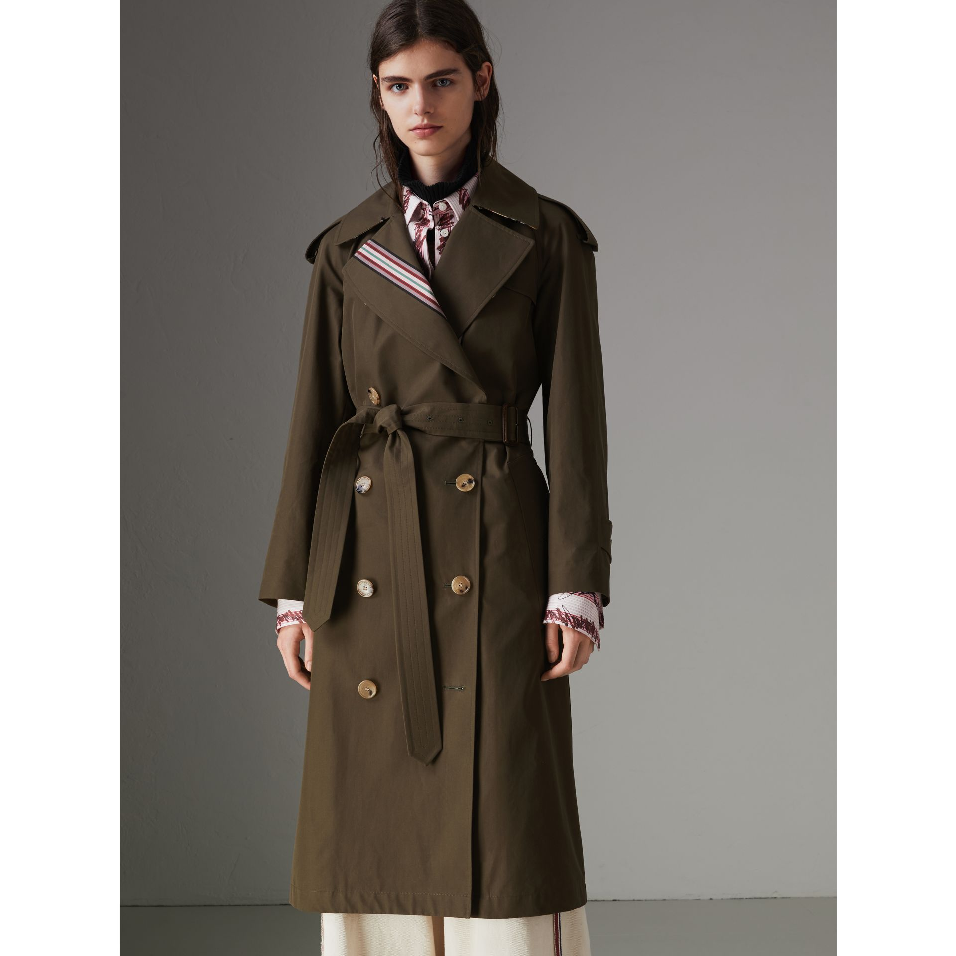Collegiate Stripe Cotton Gabardine Trench Coat in Olive - Women | Burberry - gallery image 4