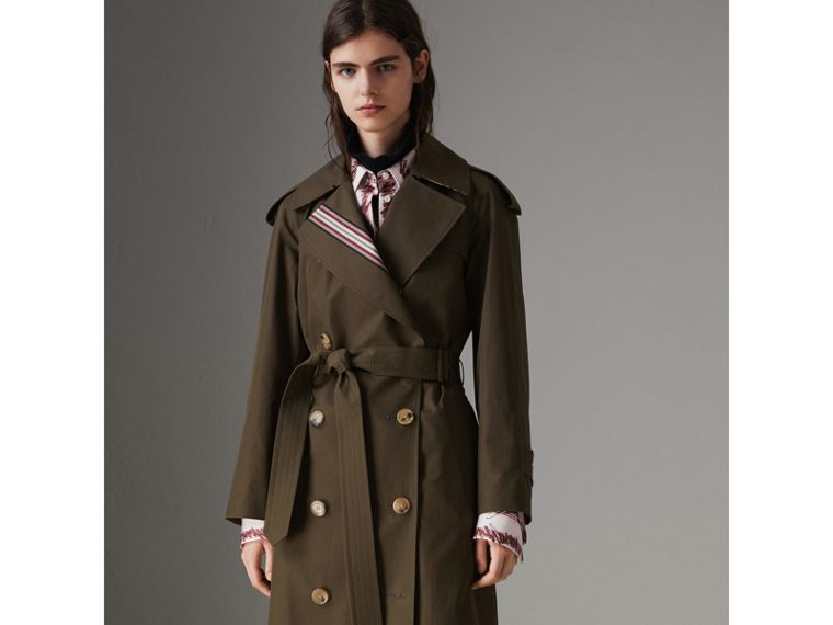 Collegiate Stripe Cotton Gabardine Trench Coat in Olive - Women | Burberry - cell image 4