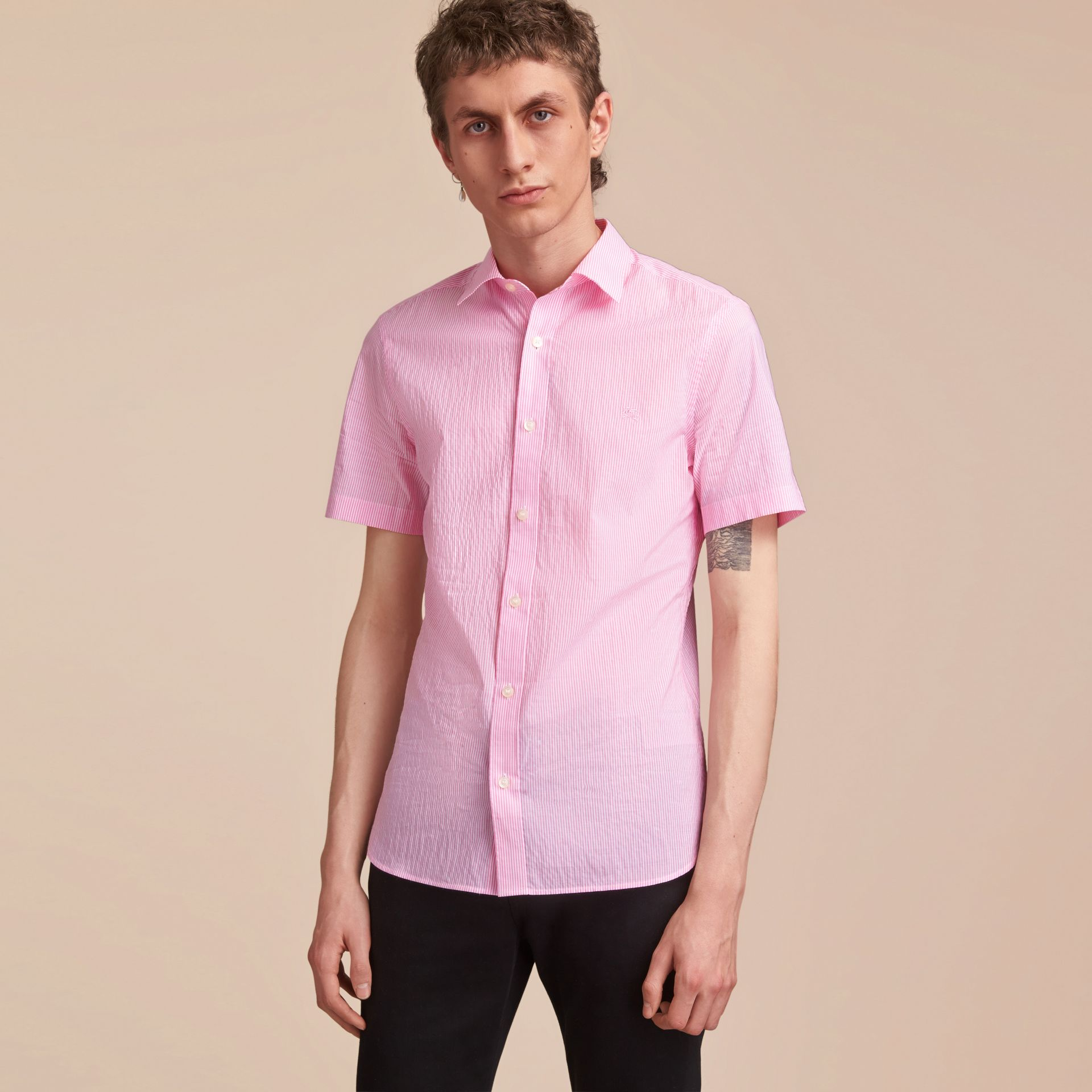 Short-sleeve Striped Cotton Seersucker Shirt in Pale Pink - Men | Burberry - gallery image 6