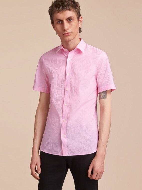 Short-sleeve Striped Cotton Seersucker Shirt in Pale Pink