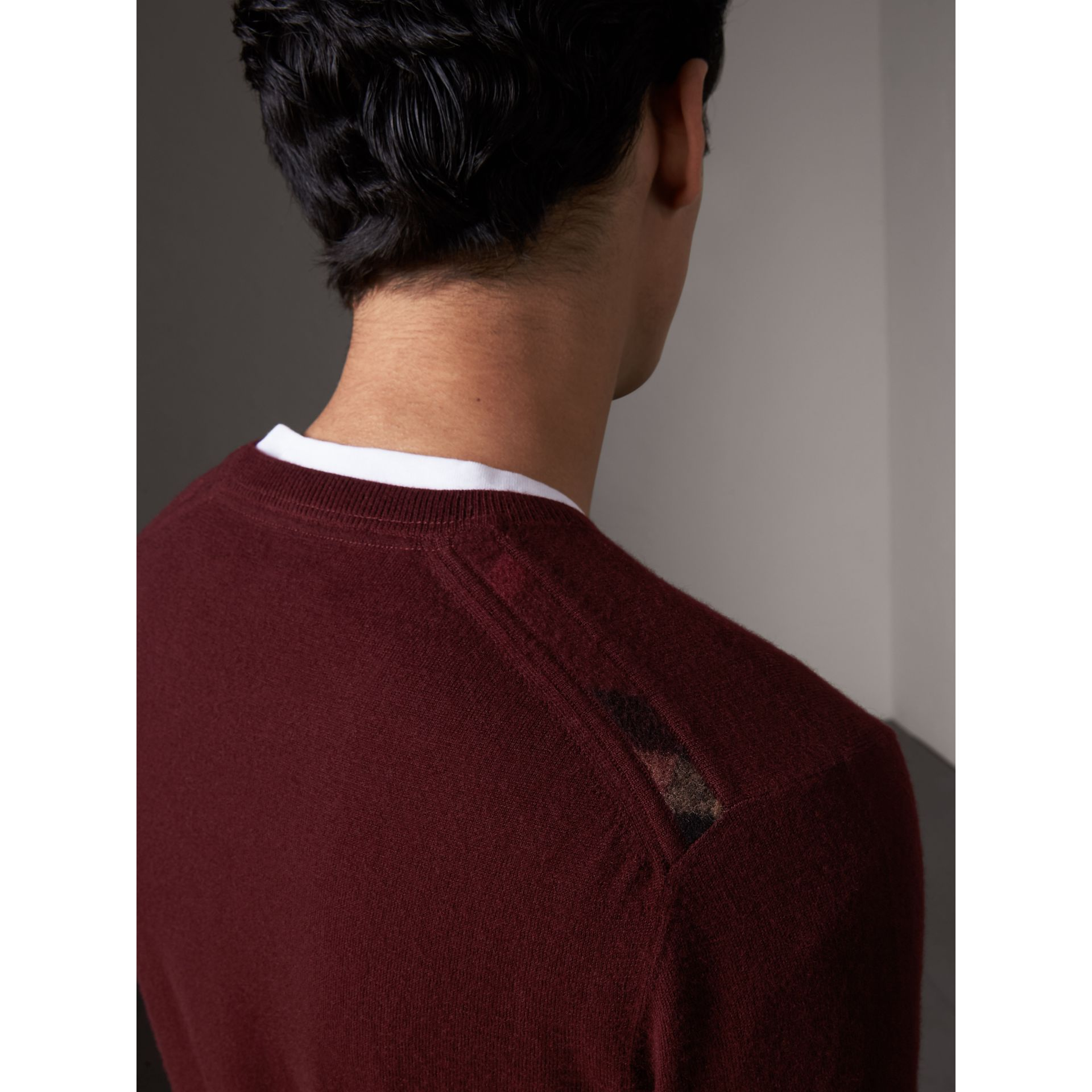 Check Jacquard Detail Cashmere Sweater in Deep Claret - Men | Burberry - gallery image 2