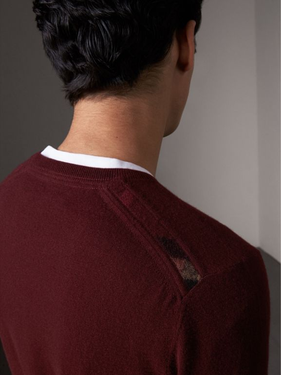 Check Jacquard Detail Cashmere Sweater in Deep Claret - Men | Burberry United States - cell image 1