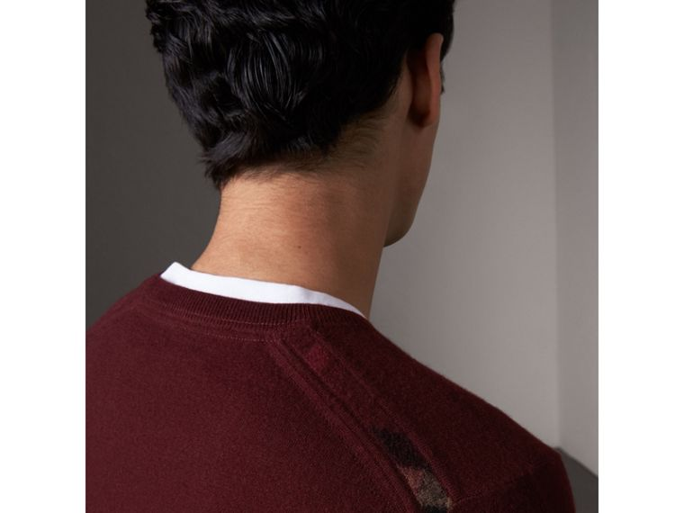 Check Jacquard Detail Cashmere Sweater in Deep Claret - Men | Burberry United Kingdom - cell image 1
