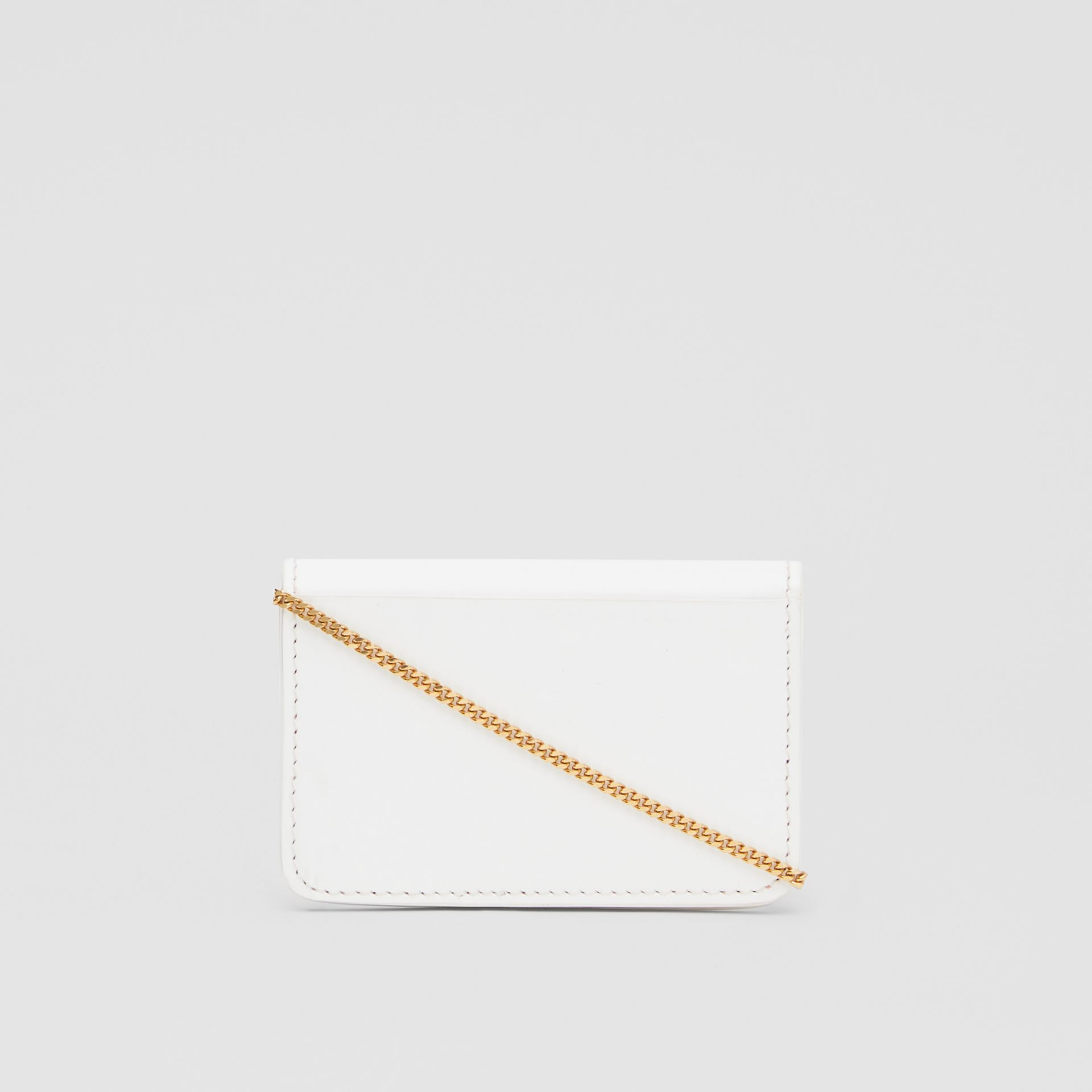 Monogram Motif Leather Card Case with Chain Strap in White | Burberry - gallery image 9