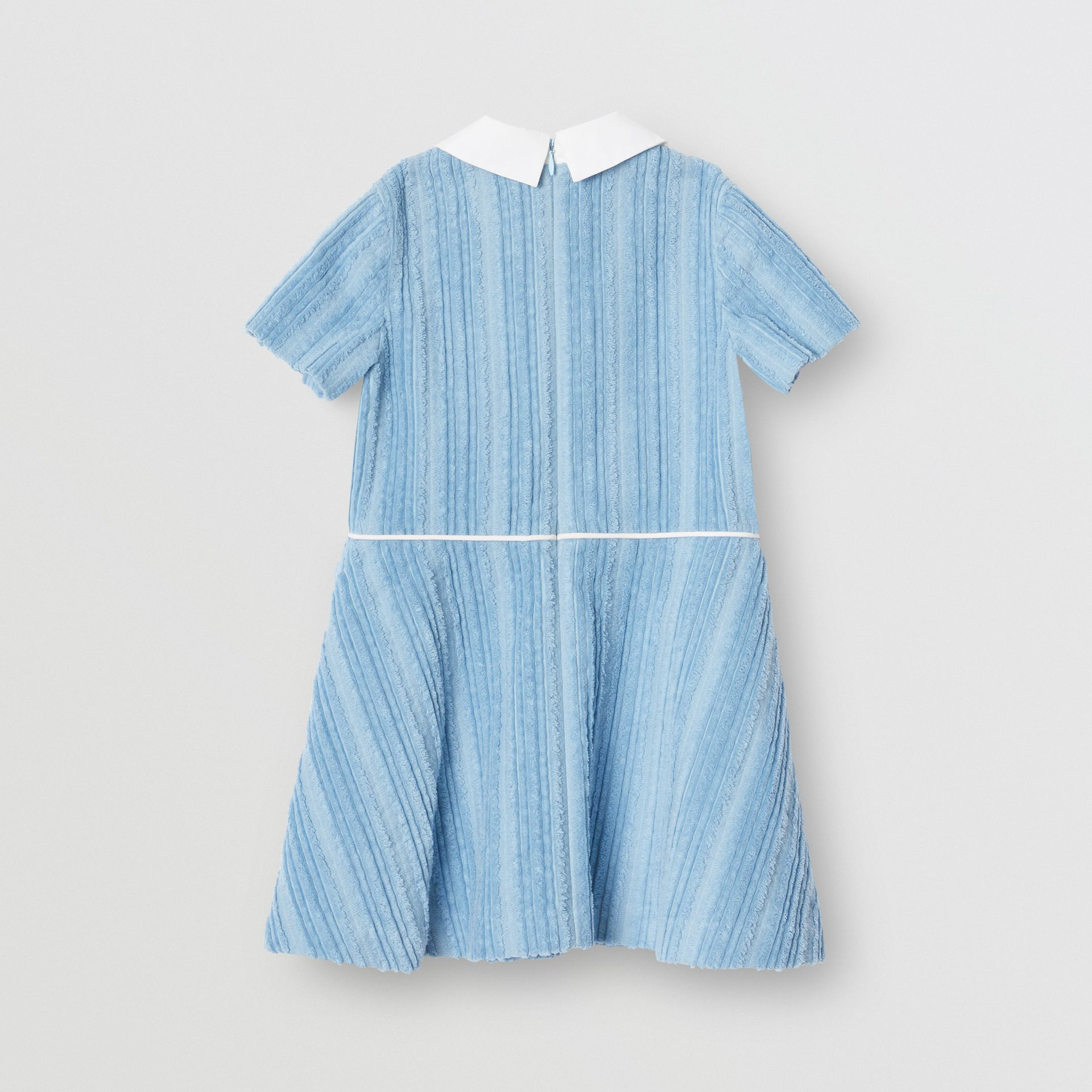 Peter Pan Collar Corduroy Dress in Powder Blue | Burberry - gallery image 3