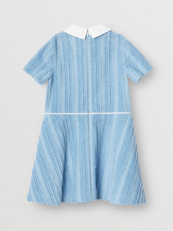 Peter Pan Collar Corduroy Dress in Powder Blue | Burberry - cell image 3