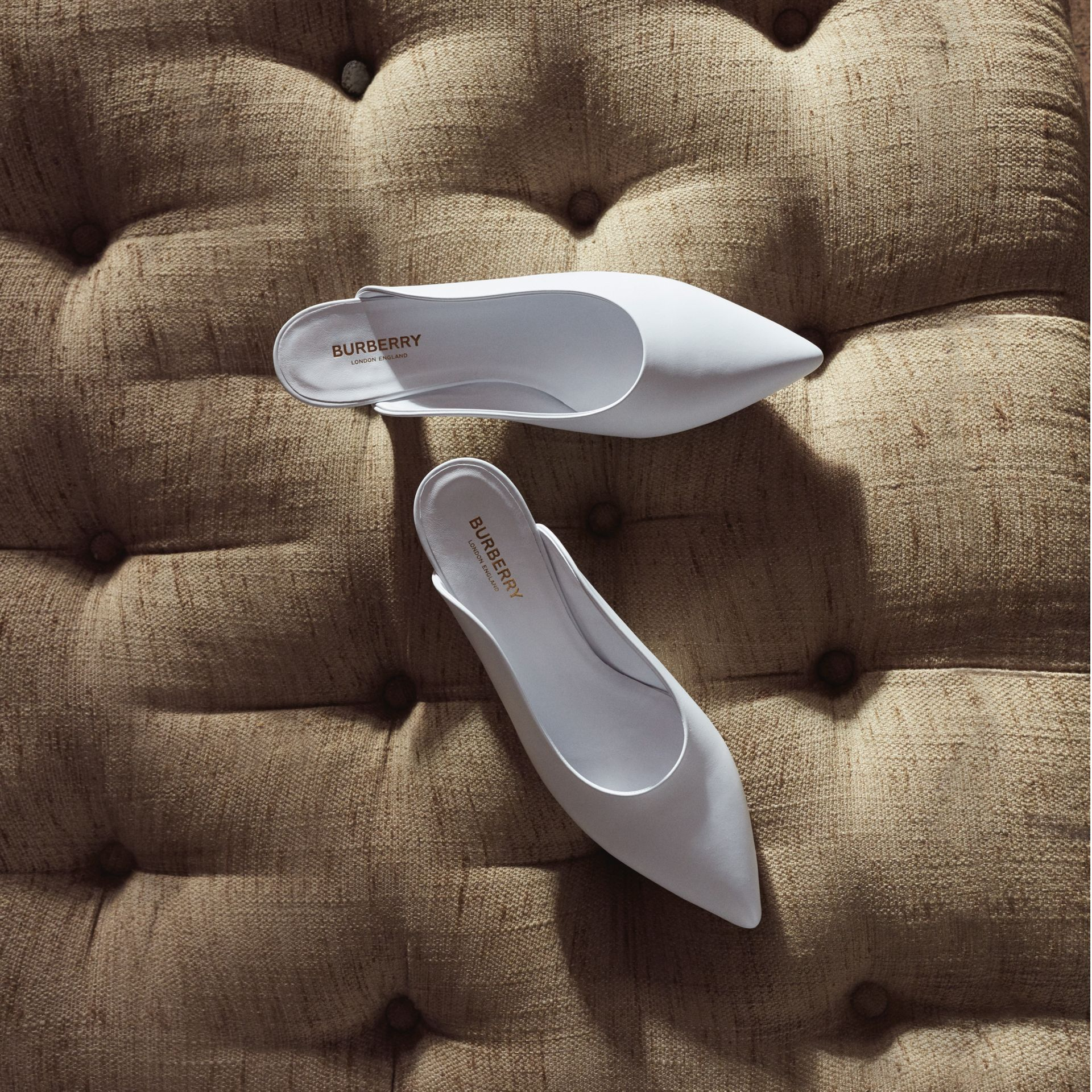 Leather Point-toe Mules in White - Women | Burberry - gallery image 1