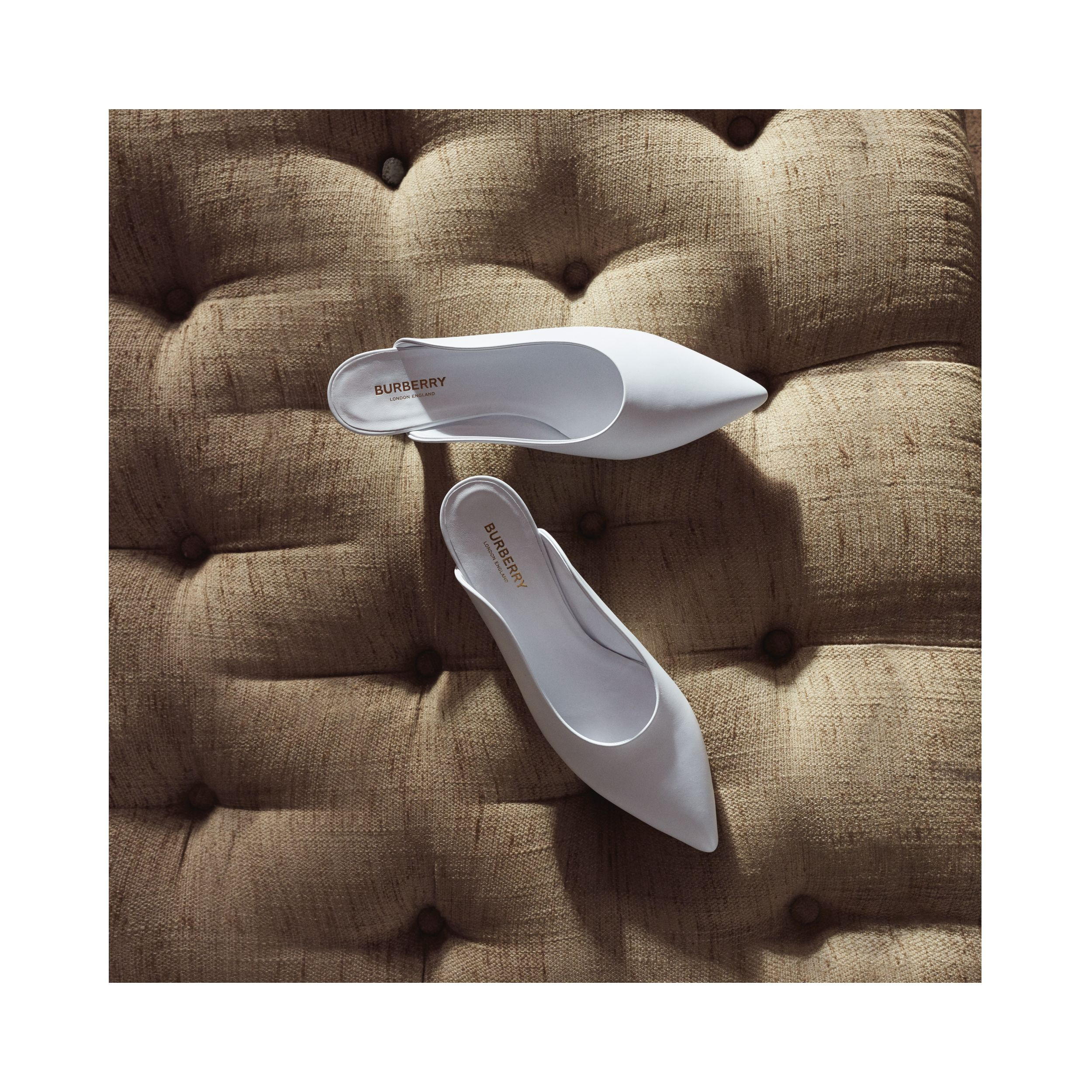 Leather Point-toe Mules in White | Burberry - 2