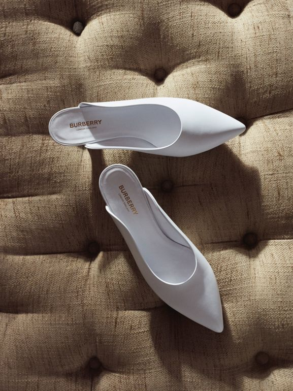 Leather Point-toe Mules in White - Women | Burberry Australia - cell image 1