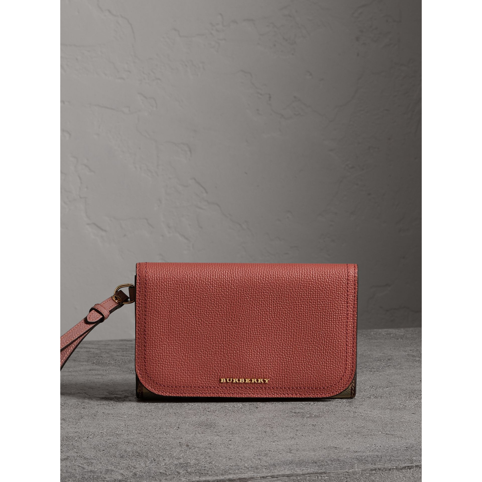 Leather and Haymarket Check Wristlet Wallet in Cinnamon Red/multicolour - Women | Burberry - gallery image 1