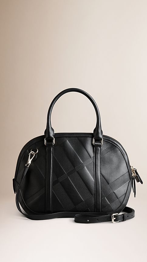 Black The Small Orchard in Embossed Check Leather Black - Image 3