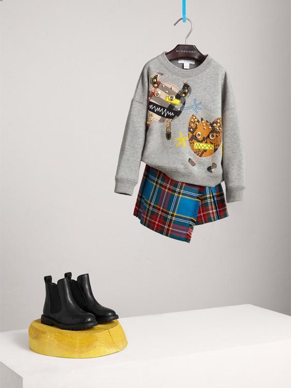 Creature Motif Cotton Sweatshirt in Grey Melange | Burberry - cell image 2