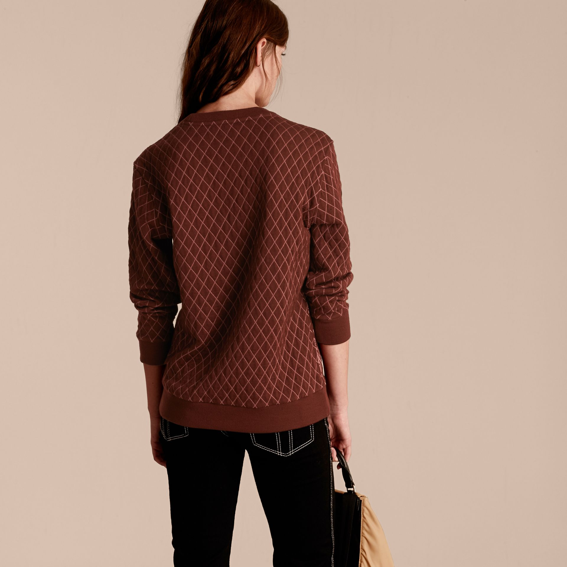 Garnet Floral Jacquard Cotton Wool Blend Sweater - gallery image 3