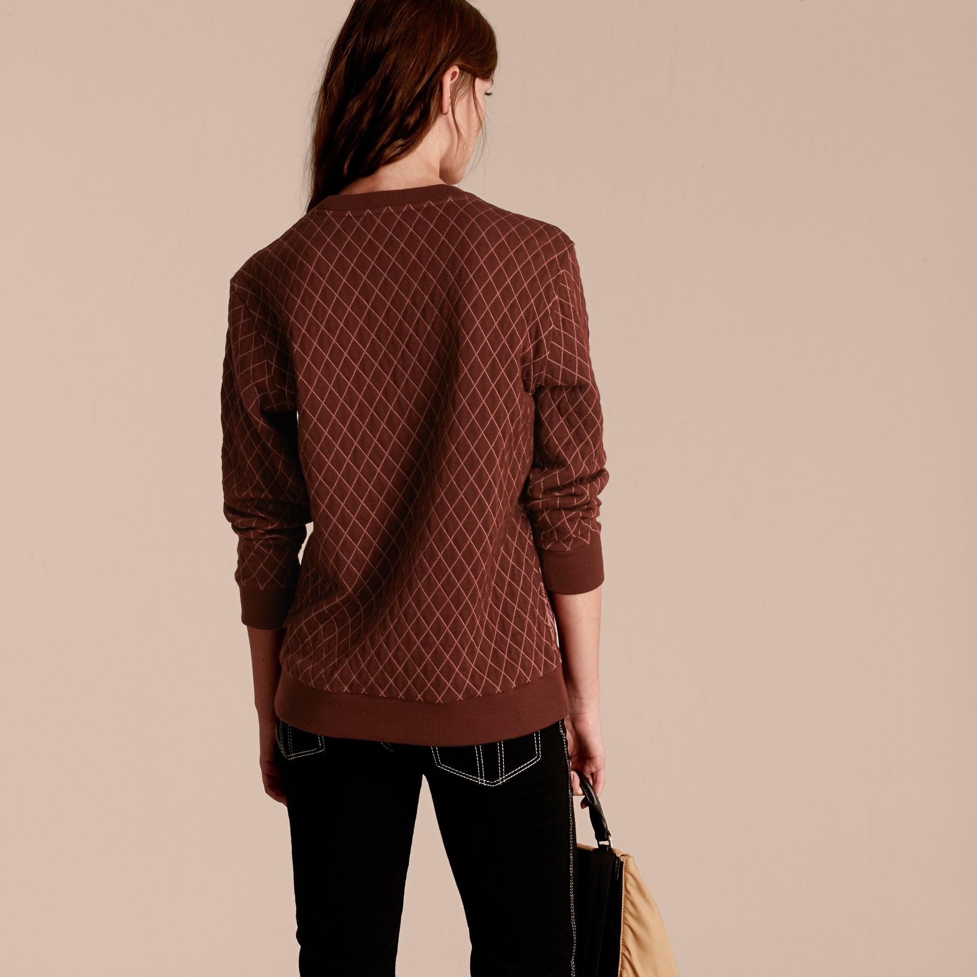 Granata Pullover in misto cotone e lana con motivo floreale in jacquard - immagine della galleria 3
