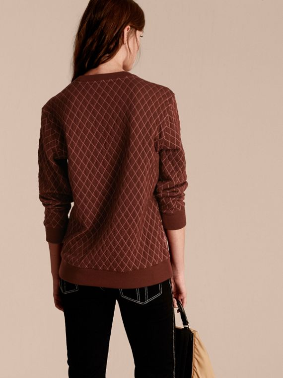 Garnet Floral Jacquard Cotton Wool Blend Sweater - cell image 2